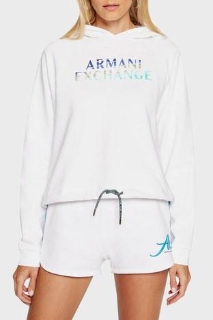 Armani Exchange - Armani Exchange % 100 Pamuk Regular Fit Kapüşonlu Bayan Sweat 3KYM06 YJ3AZ 1100 BEYAZ