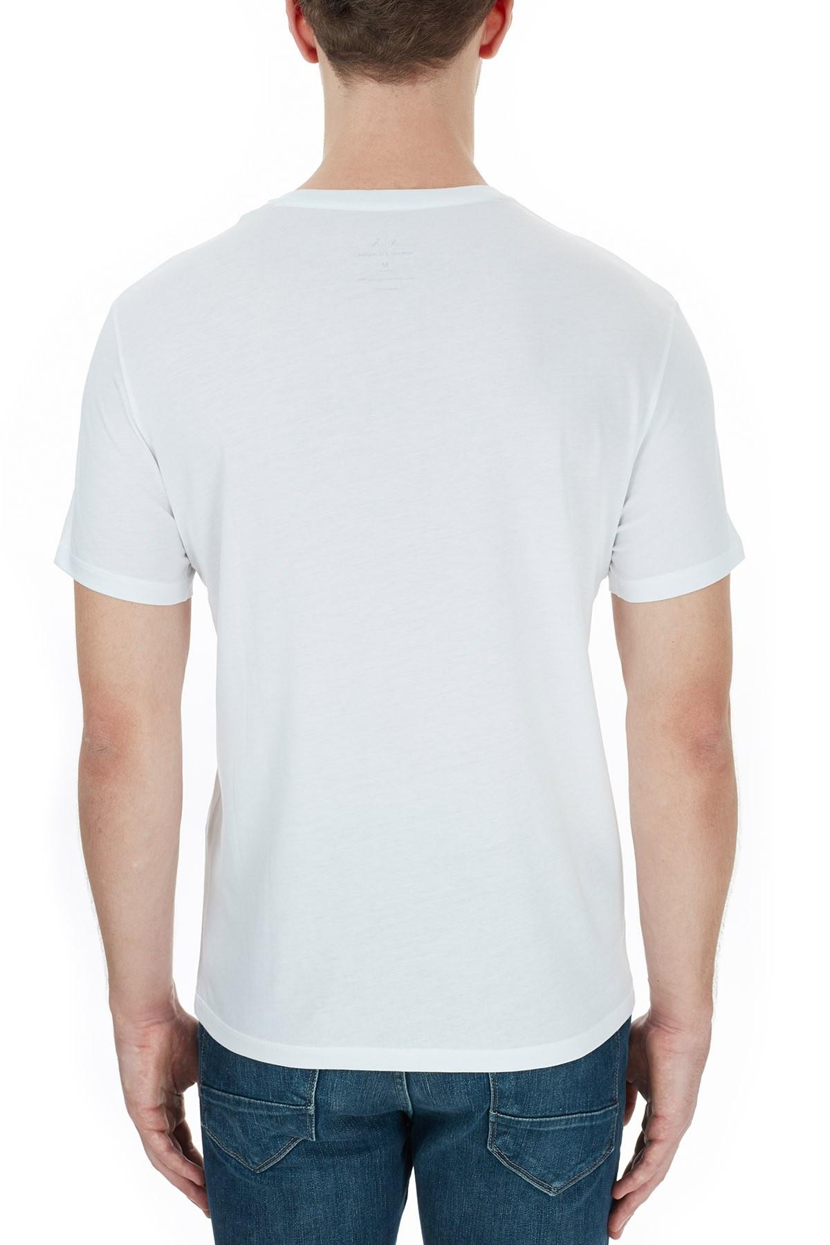 Armani Exchange % 100 Pamuklu Baskılı Bisiklet Yaka Erkek T Shirt 6HZTAD ZJA5Z 1100 BEYAZ
