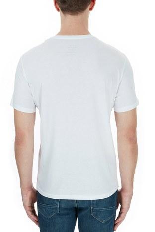Armani Exchange - Armani Exchange % 100 Pamuklu Baskılı Bisiklet Yaka Erkek T Shirt 6HZTAD ZJA5Z 1100 BEYAZ (1)