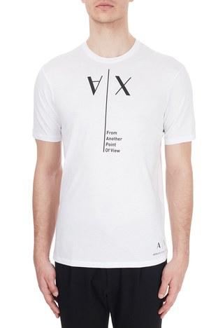 Armani Exchange - Armani Exchange % 100 Pamuklu Baskılı Bisiklet Yaka Erkek T Shirt 6HZTAH ZJA5Z 1100 BEYAZ