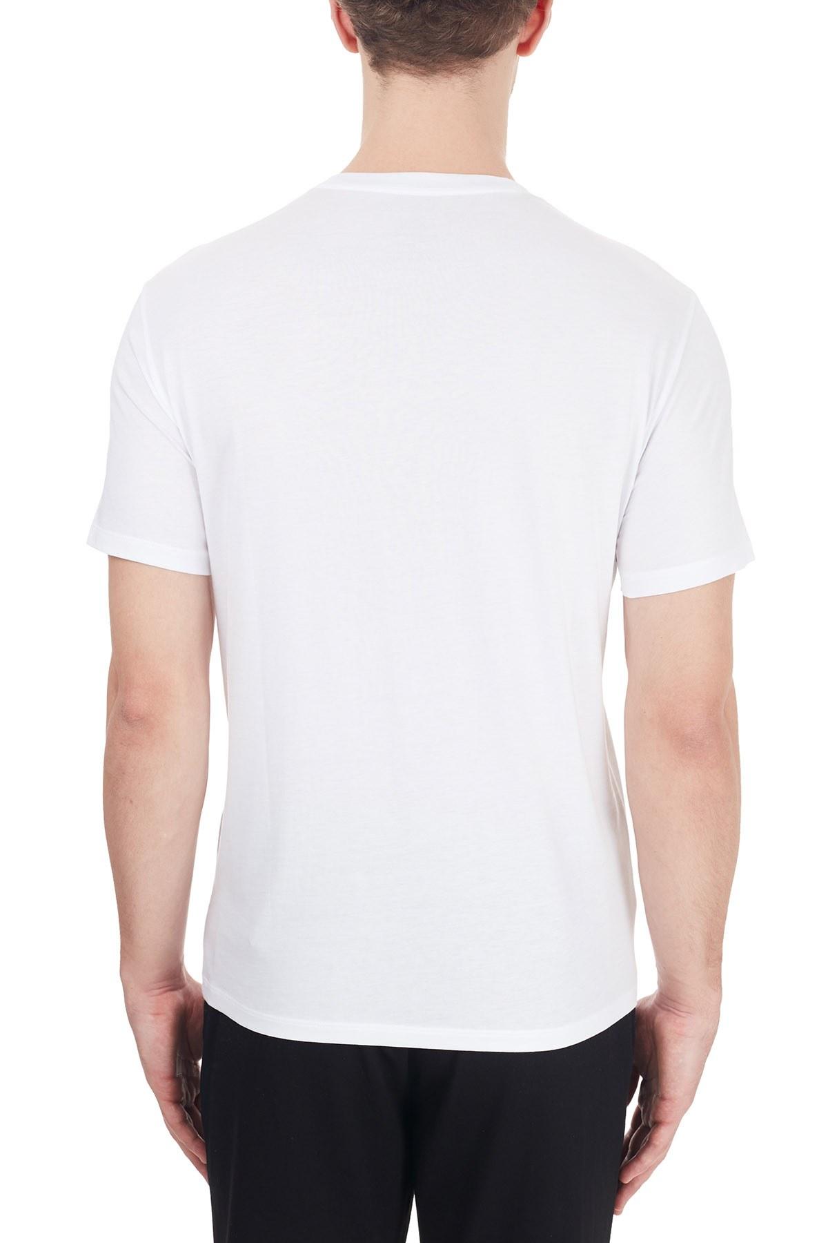 Armani Exchange % 100 Pamuklu Baskılı Bisiklet Yaka Erkek T Shirt 6HZTAH ZJA5Z 1100 BEYAZ