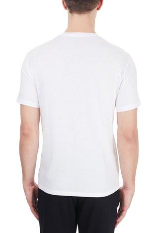 Armani Exchange - Armani Exchange % 100 Pamuklu Baskılı Bisiklet Yaka Erkek T Shirt 6HZTAH ZJA5Z 1100 BEYAZ (1)