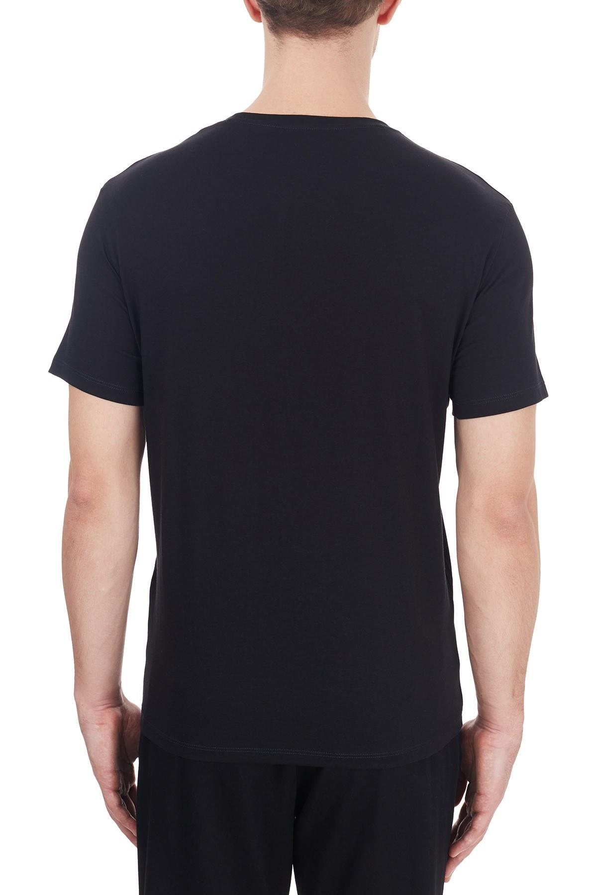 Armani Exchange % 100 Pamuklu Baskılı Bisiklet Yaka Erkek T Shirt 6HZTAH ZJA5Z 1200 SİYAH