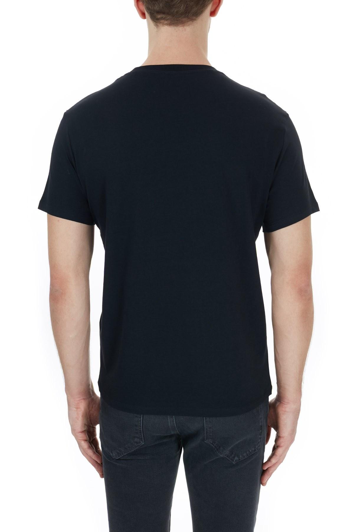 Armani Exchange % 100 Pamuklu Baskılı Bisiklet Yaka Erkek T Shirt 6HZTAL ZJN7Z 1200 SİYAH