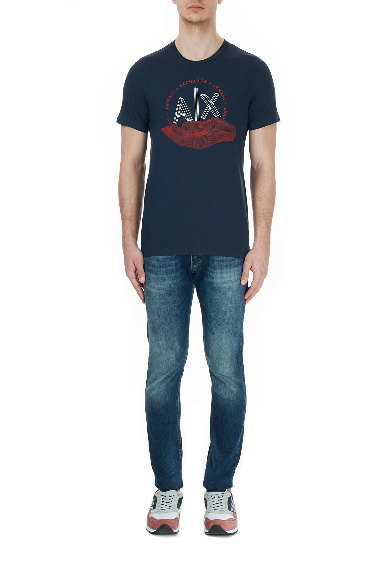 Armani Exchange % 100 Pamuklu Baskılı Bisiklet Yaka Erkek T Shirt 6HZTAN ZJN7Z 1510 LACİVERT