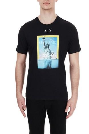 Armani Exchange - Armani Exchange % 100 Pamuklu Baskılı Bisiklet Yaka Erkek T Shirt 6HZTEE ZJ3DZ 1200 SİYAH