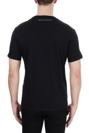 Armani Exchange - Armani Exchange % 100 Pamuklu Baskılı Bisiklet Yaka Erkek T Shirt 6HZTEE ZJ3DZ 1200 SİYAH (1)