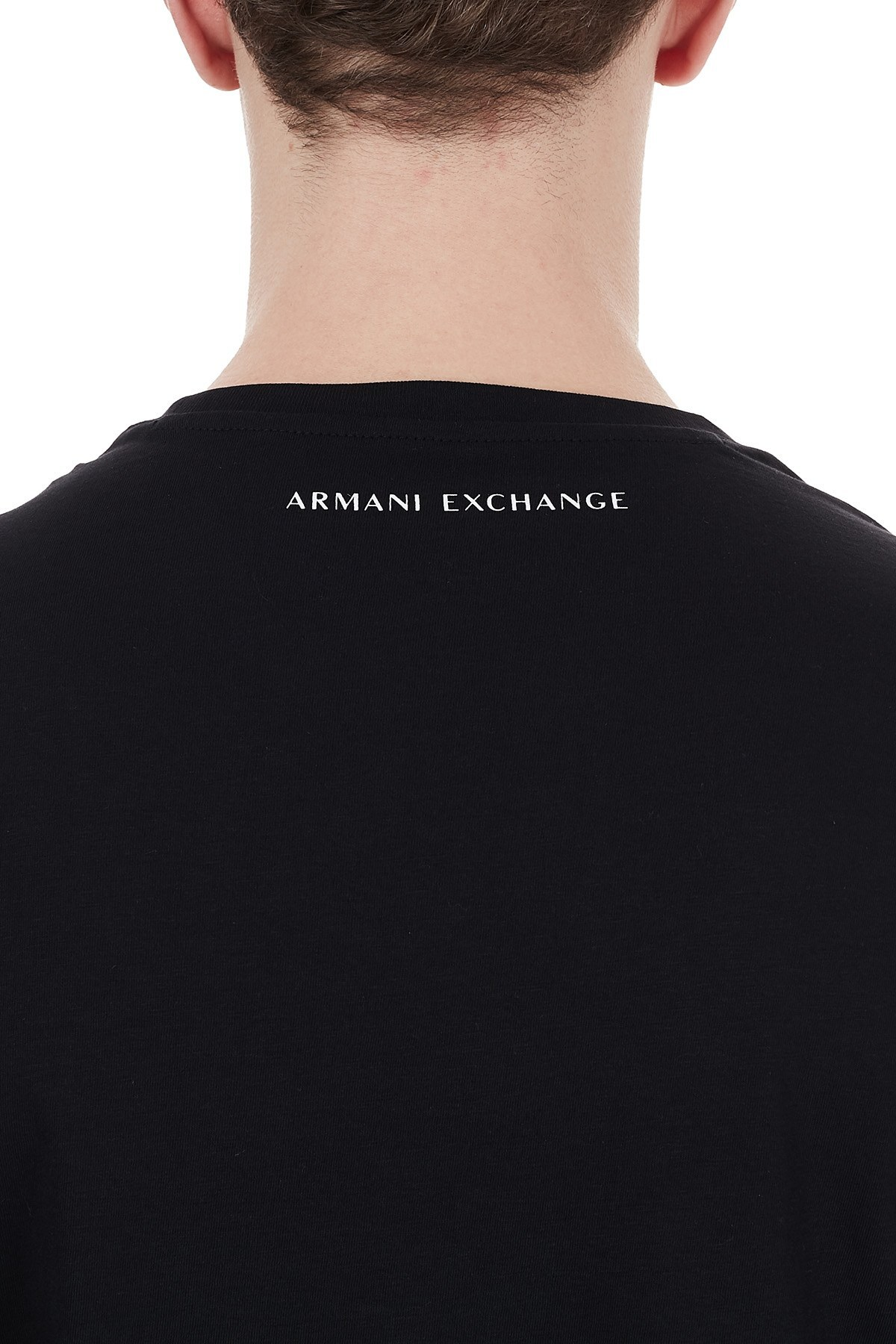 Armani Exchange % 100 Pamuklu Baskılı Bisiklet Yaka Erkek T Shirt 6HZTEE ZJ3DZ 1200 SİYAH
