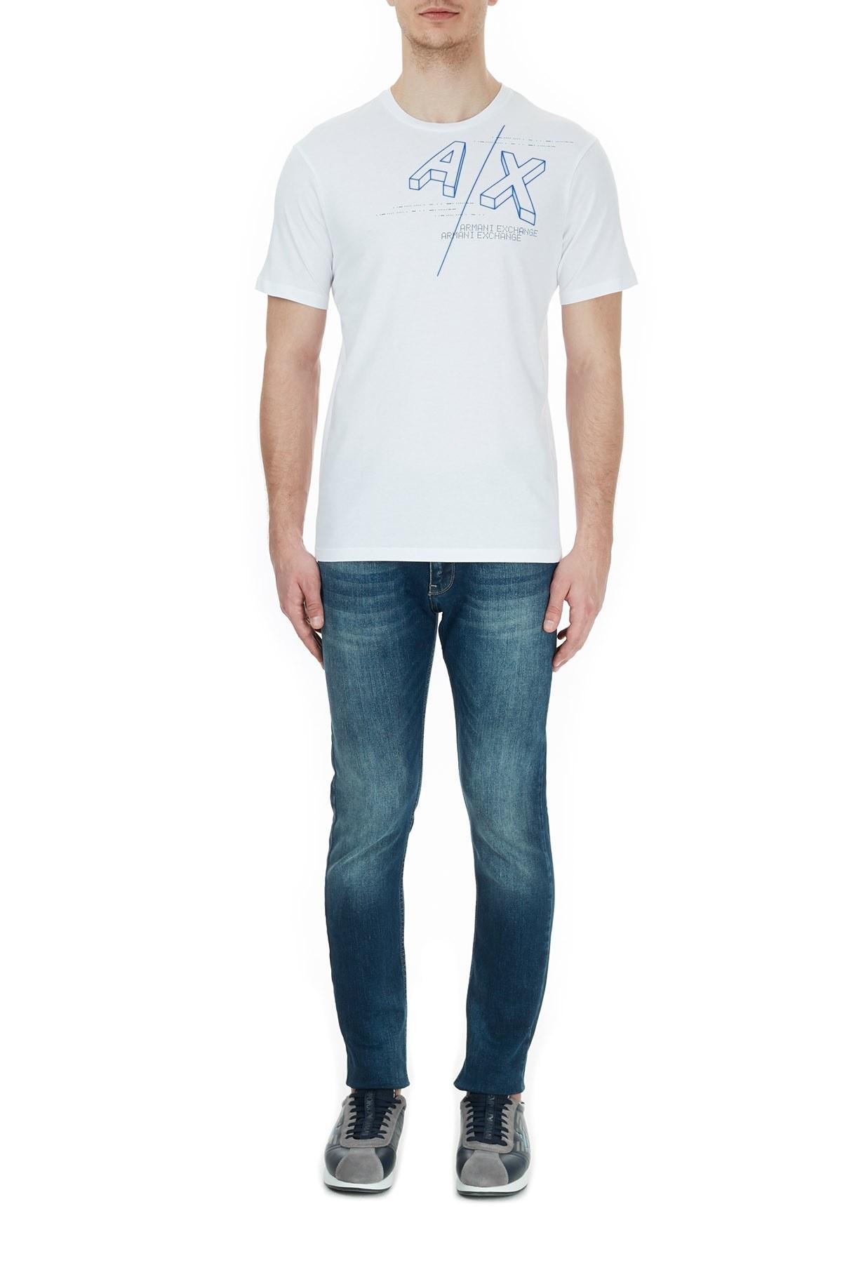 Armani Exchange % 100 Pamuklu Baskılı Bisiklet Yaka Erkek T Shirt 6HZTFA ZJBVZ 1100 BEYAZ