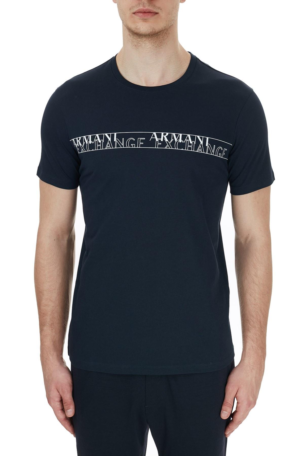 Armani Exchange % 100 Pamuklu Baskılı Bisiklet Yak Erkek T Shirt 6HZTFC ZJBVZ 1510 LACİVERT