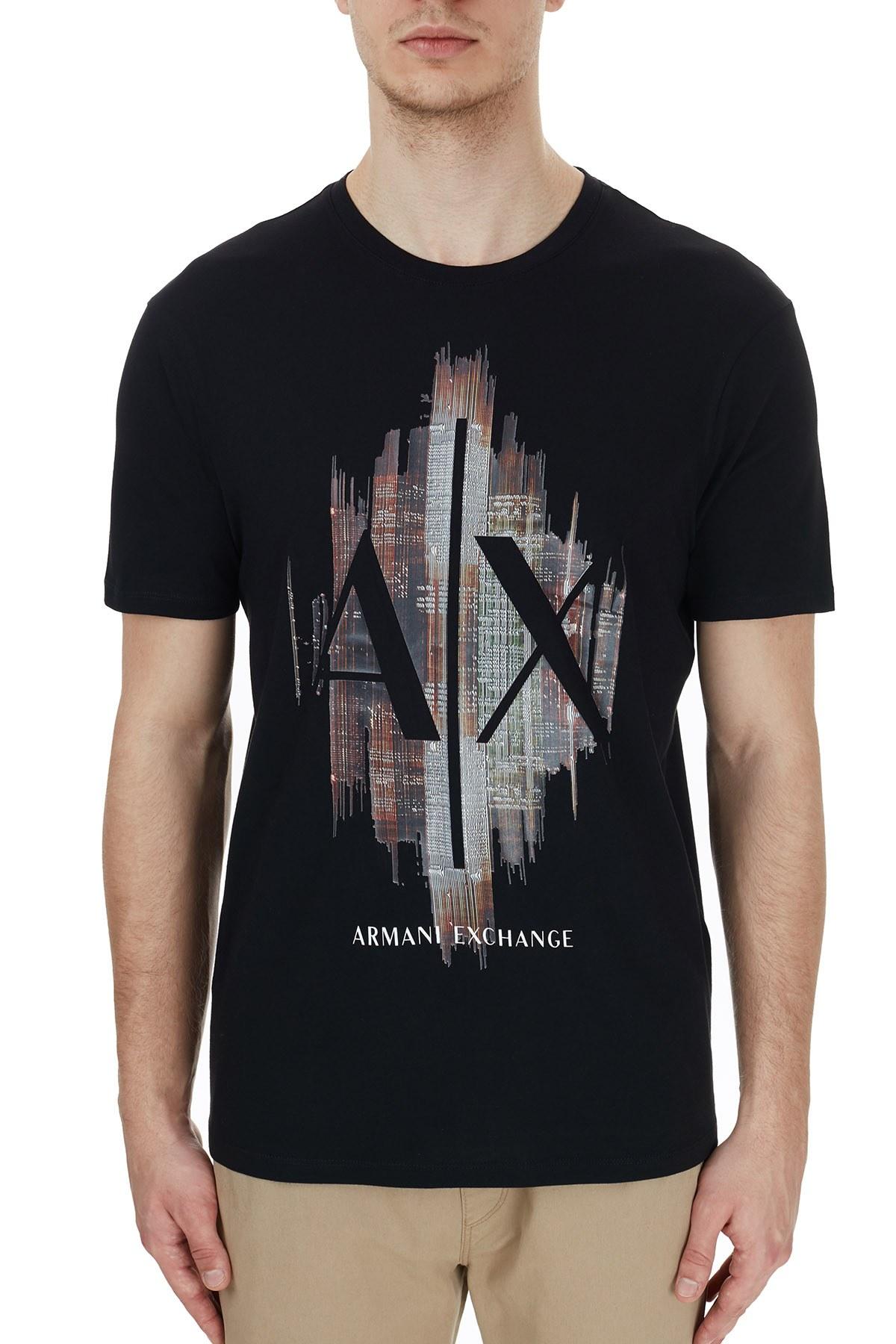 Armani Exchange % 100 Pamuklu Baskılı Bisiklet Yaka Erkek T Shirt 6HZTFG ZJH4Z 1200 SİYAH