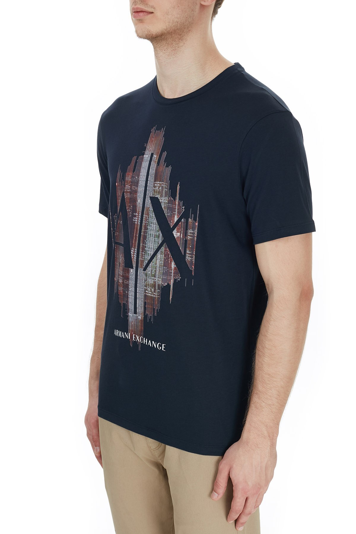 Armani Exchange % 100 Pamuklu Baskılı Bisiklet Yaka Erkek T Shirt 6HZTFG ZJH4Z 1510 LACİVERT
