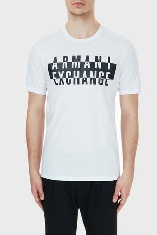 Armani Exchange - Armani Exchange % 100 Pamuklu Baskılı Bisiklet Yaka Erkek T Shirt 6HZTGD ZJH4Z 1100 BEYAZ