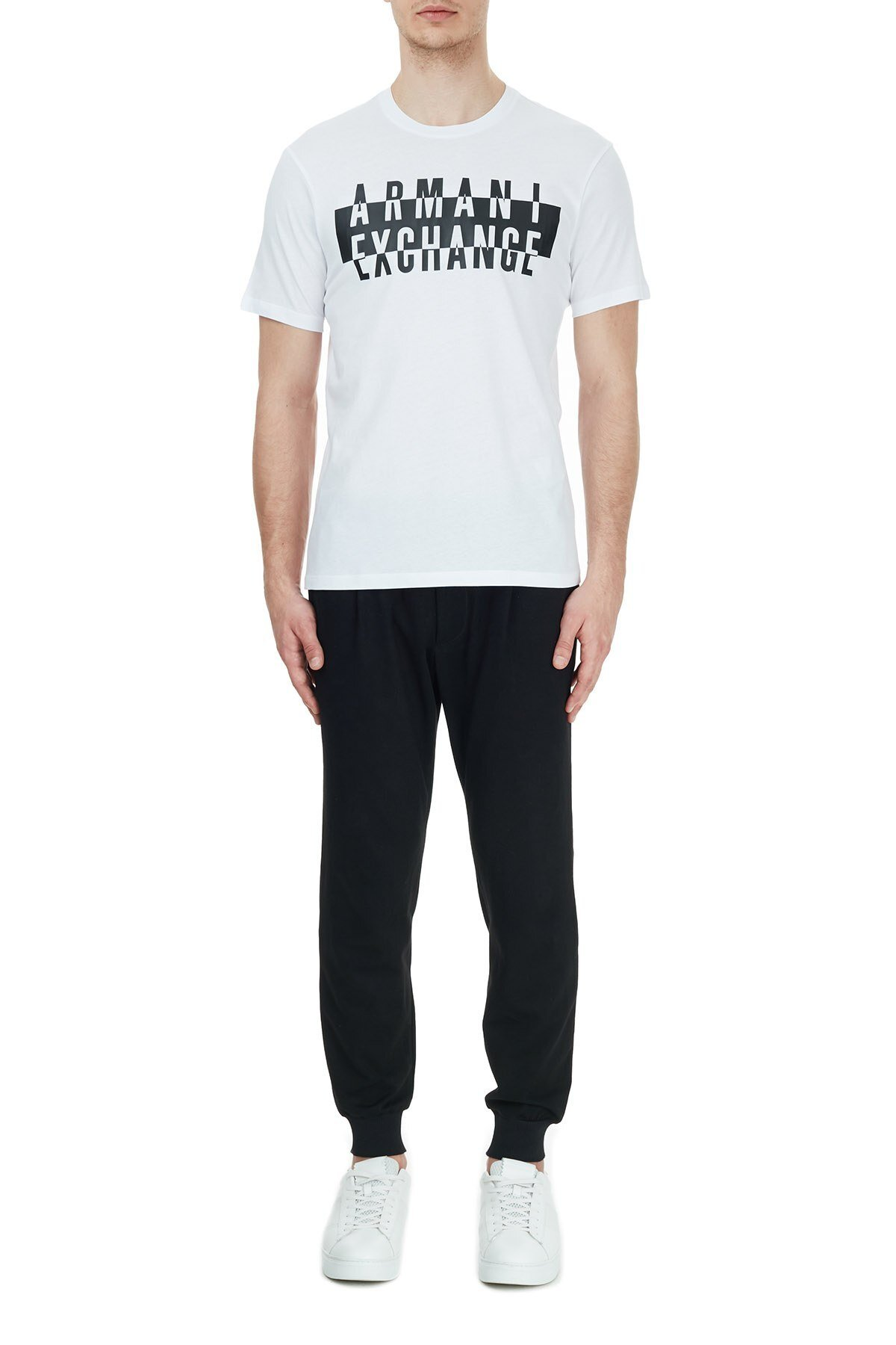 Armani Exchange % 100 Pamuklu Baskılı Bisiklet Yaka Erkek T Shirt 6HZTGD ZJH4Z 1100 BEYAZ
