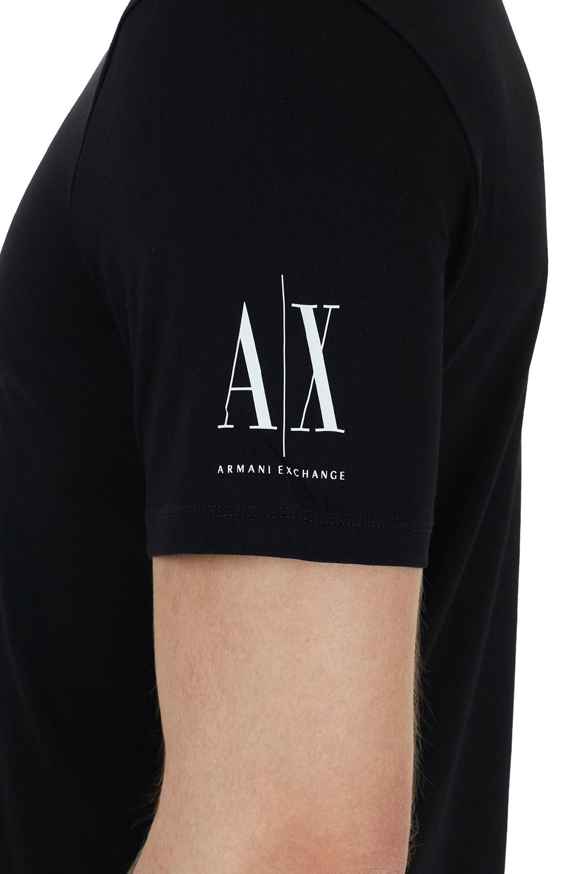 Armani Exchange % 100 Pamuklu Baskılı Bisiklet Yaka Erkek T Shirt 6HZTJF ZJH4Z 7285 SİYAH
