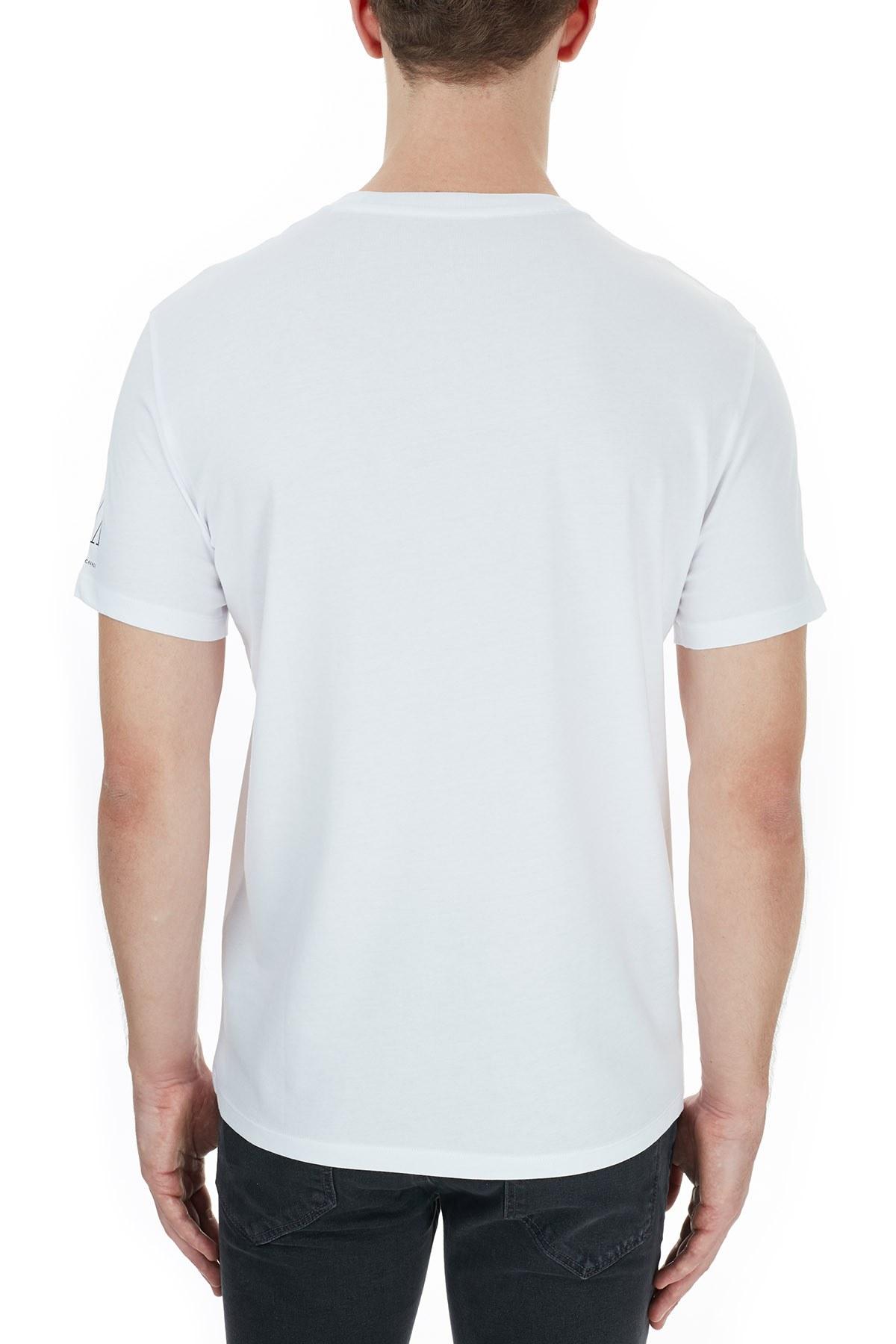 Armani Exchange % 100 Pamuklu Baskılı Bisiklet Yaka Erkek T Shirt 6HZTJF ZJH4Z 9100 BEYAZ