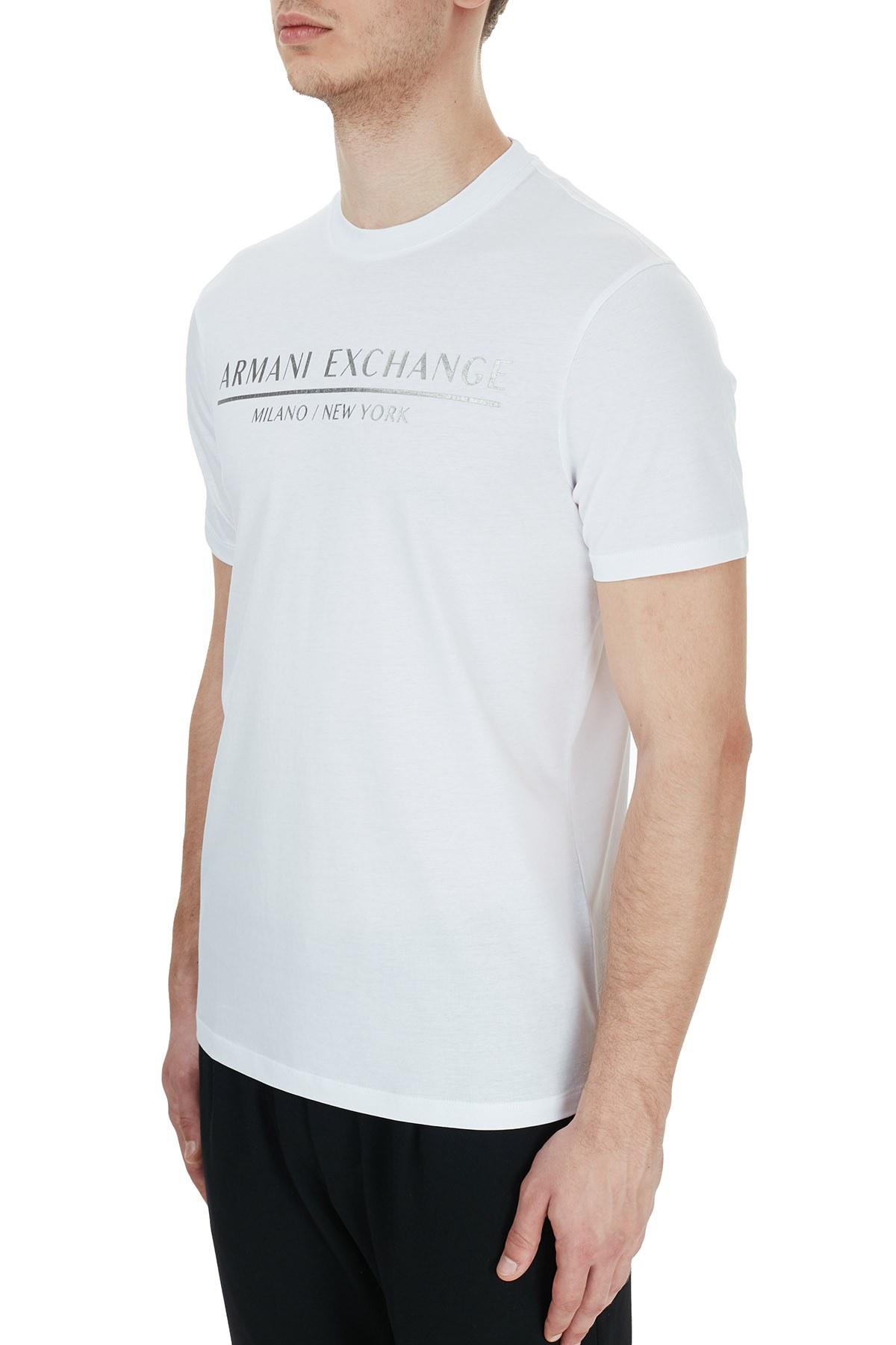Armani Exchange % 100 Pamuklu Baskılı Bisiklet Yaka Erkek T Shirt 6HZTLI ZJ9AZ 1100 BEYAZ