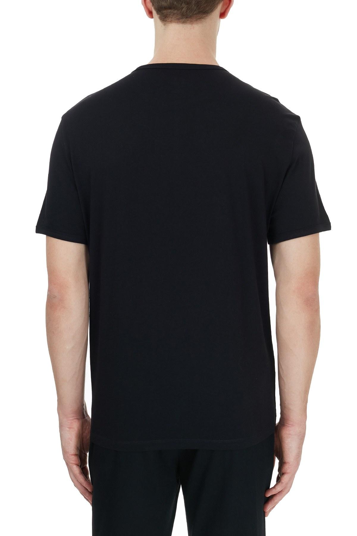 Armani Exchange % 100 Pamuklu Baskılı Bisiklet Yaka Erkek T Shirt 8NZT76 Z8H4Z 1200 SİYAH