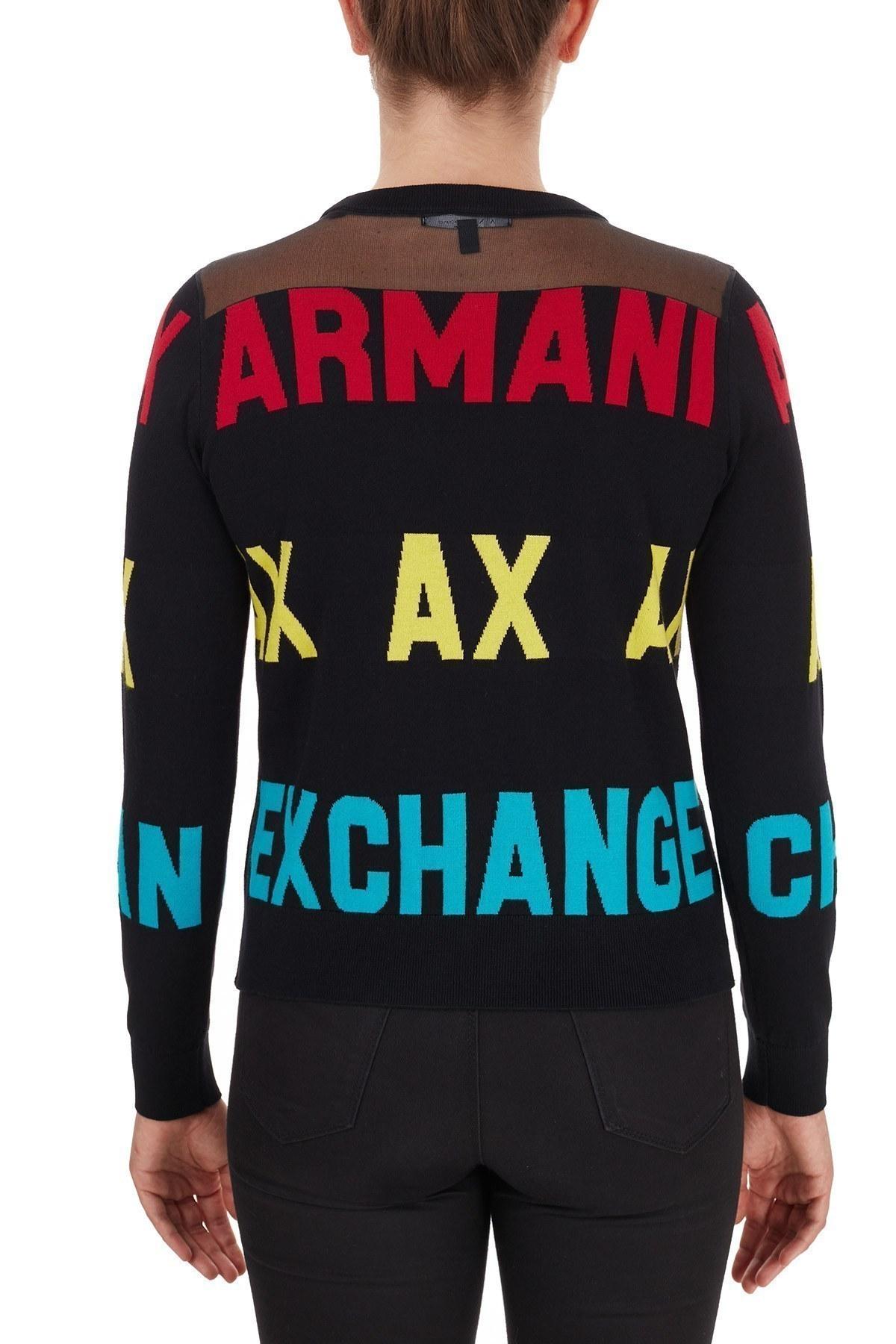 Armani Exchange % 100 Pamuklu Baskılı Bisiklet Yaka Bayan Kazak 6HYM1F YMD4Z 1200 SİYAH