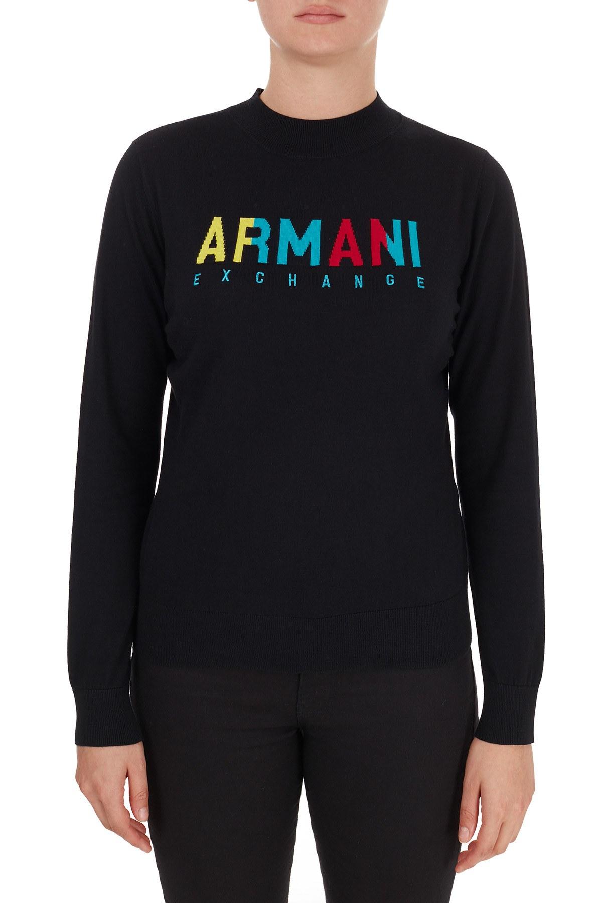 Armani Exchange % 100 Pamuklu Baskılı Bisiklet Yaka Kadın Kazak 6HYM1G YMD4Z 1200 SİYAH