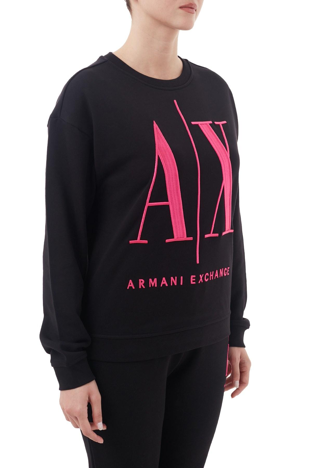 Armani Exchange % 100 Pamuklu Baskılı Bisiklet Yaka Kadın Sweat 8NYM02 YJ68Z 8219 SİYAH