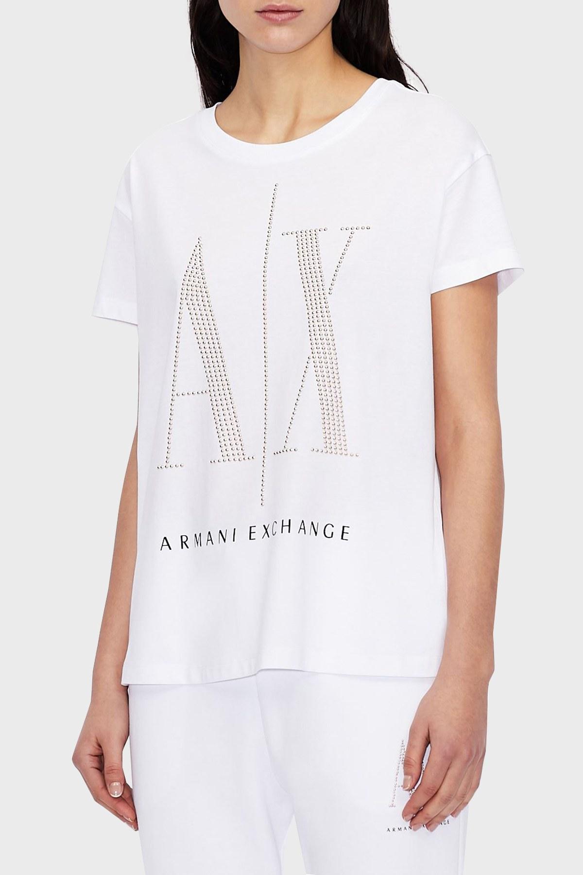 Armani Exchange % 100 Pamuklu Baskılı Bisiklet Yaka Bayan T Shirt 8NYTDX YJG3Z 9130 BEYAZ
