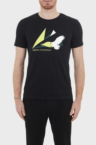 Armani Exchange - Armani Exchange % 100 Pamuklu Bisiklet Yaka Slim Fit Erkek T Shirt 3KZTAS ZJA5Z 1200 SİYAH