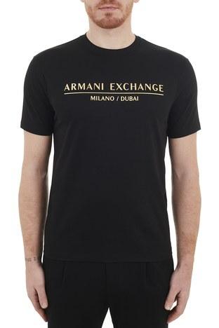 Armani Exchange - Armani Exchange % 100 Pamuklu Bisiklet Yaka Erkek T Shirt 3KZTEB ZJ9AZ 1200 SİYAH