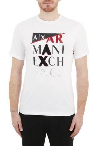 Armani Exchange - Armani Exchange % 100 Pamuklu Bisiklet Yaka Erkek T Shirt 3KZTFD ZJBVZ 1100 BEYAZ