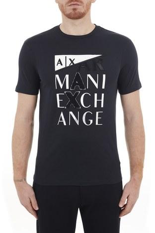 Armani Exchange - Armani Exchange % 100 Pamuklu Bisiklet Yaka Erkek T Shirt 3KZTFD ZJBVZ 1510 LACİVERT