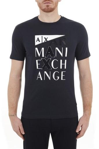 Armani Exchange % 100 Pamuklu Bisiklet Yaka Erkek T Shirt 3KZTFD ZJBVZ 1510 LACİVERT