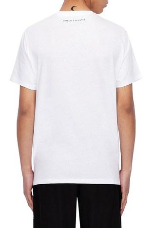 Armani Exchange - Armani Exchange % 100 Pamuklu Bisiklet Yaka Erkek T Shirt 3KZTNA ZJ3DZ 9186 BEYAZ (1)