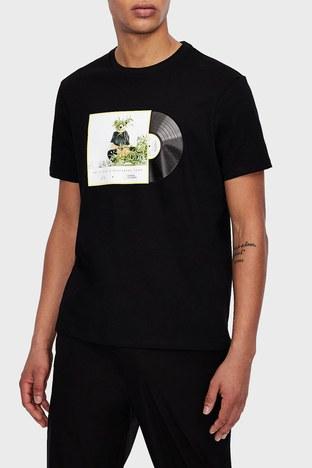 Armani Exchange - Armani Exchange % 100 Pamuklu Bisiklet Yaka Erkek T Shirt 3KZTNA ZJ3DZ 9209 SİYAH