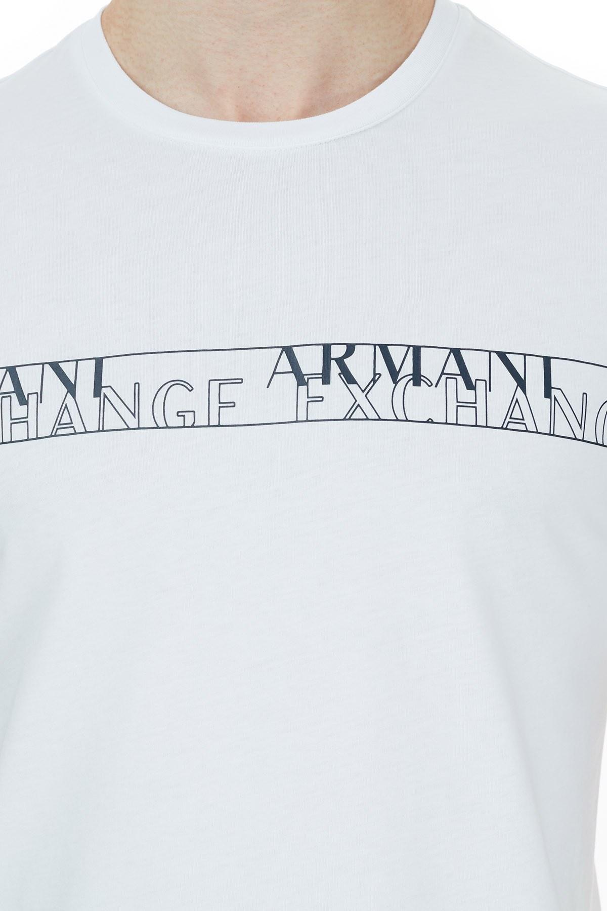 Armani Exchange % 100 Pamuklu Bisiklet Yaka T Shir Erkek T Shirt 6HZTFC ZJBVZ 1100 BEYAZ