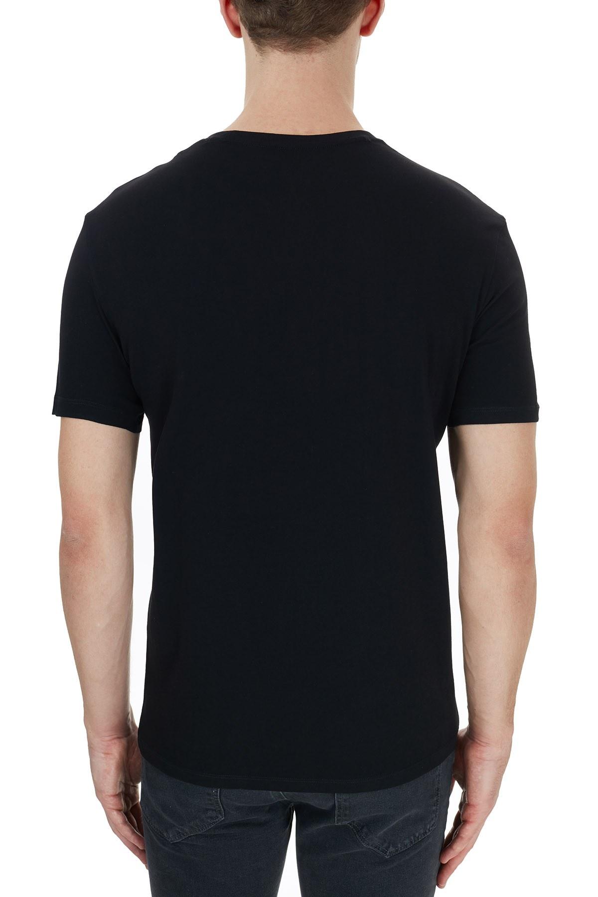 Armani Exchange % 100 Pamuklu Bisiklet Yaka Erkek T Shirt 6HZTFU ZJH4Z 1200 SİYAH