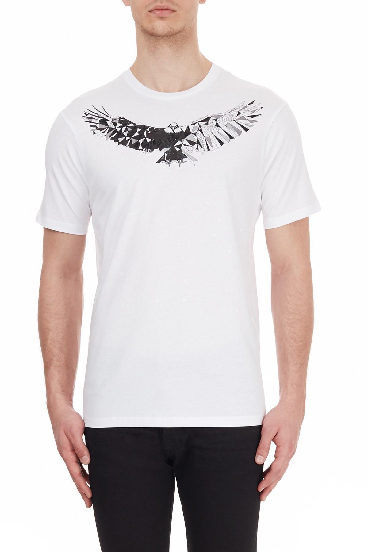 Armani Exchange % 100 Pamuklu Bisiklet Yaka Erkek T Shirt 6HZTGN ZJBVZ 8156 BEYAZ