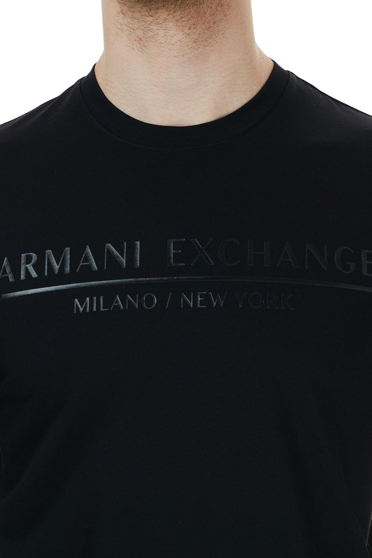 Armani Exchange % 100 Pamuklu Bisiklet Yaka Erkek T Shirt 6HZTLI ZJ9AZ 1200 SİYAH