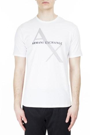 Armani Exchange - Armani Exchange % 100 Pamuklu Bisiklet Yaka Erkek T Shirt 8NZT76 Z8H4Z 1100 BEYAZ