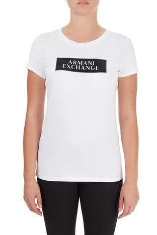 Armani Exchange - Armani Exchange % 100 Pamuklu Bisiklet Yaka Kadın T Shirt 6HYTAA YJ73Z 8173 BEYAZ