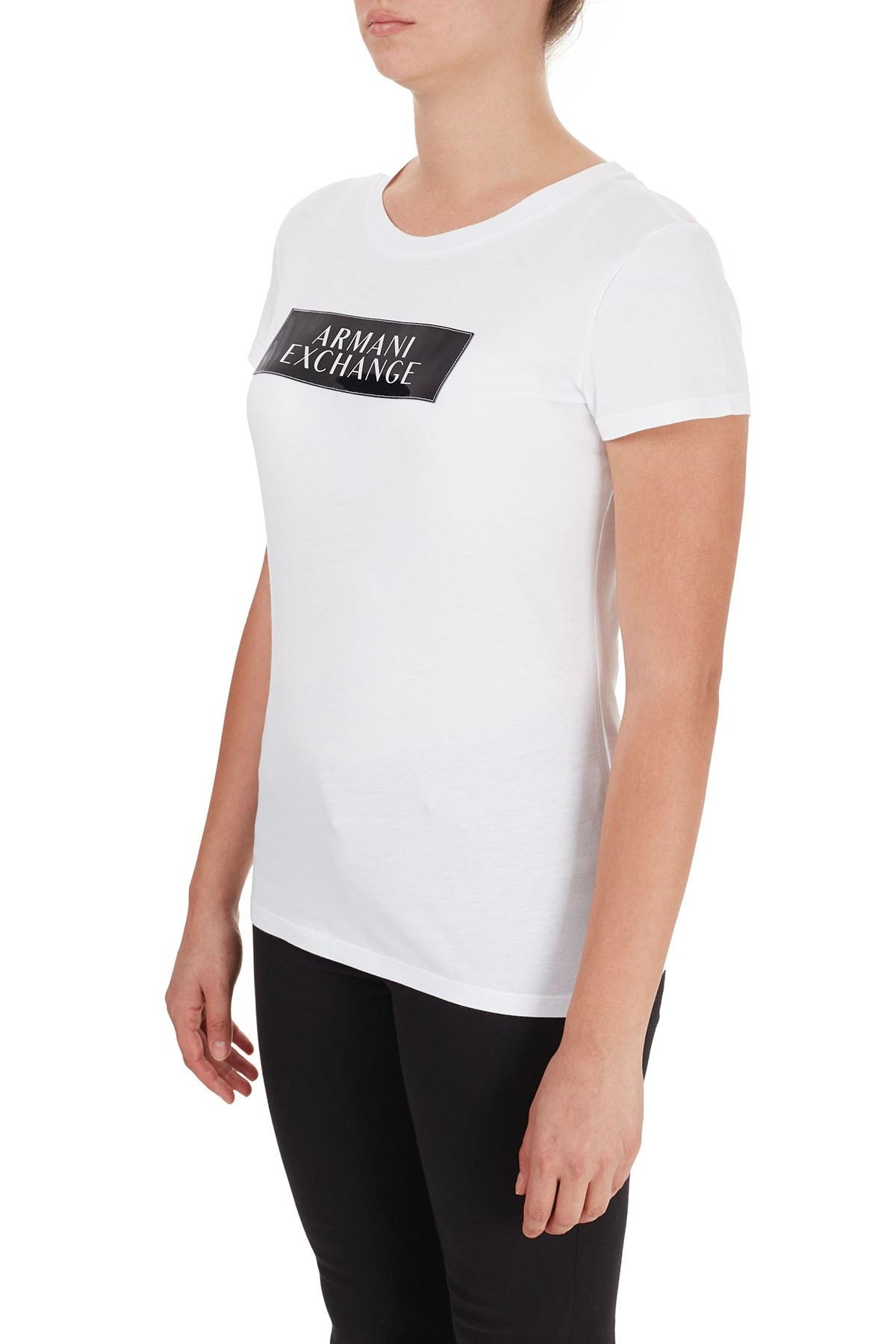 Armani Exchange % 100 Pamuklu Bisiklet Yaka Kadın T Shirt 6HYTAA YJ73Z 8173 BEYAZ
