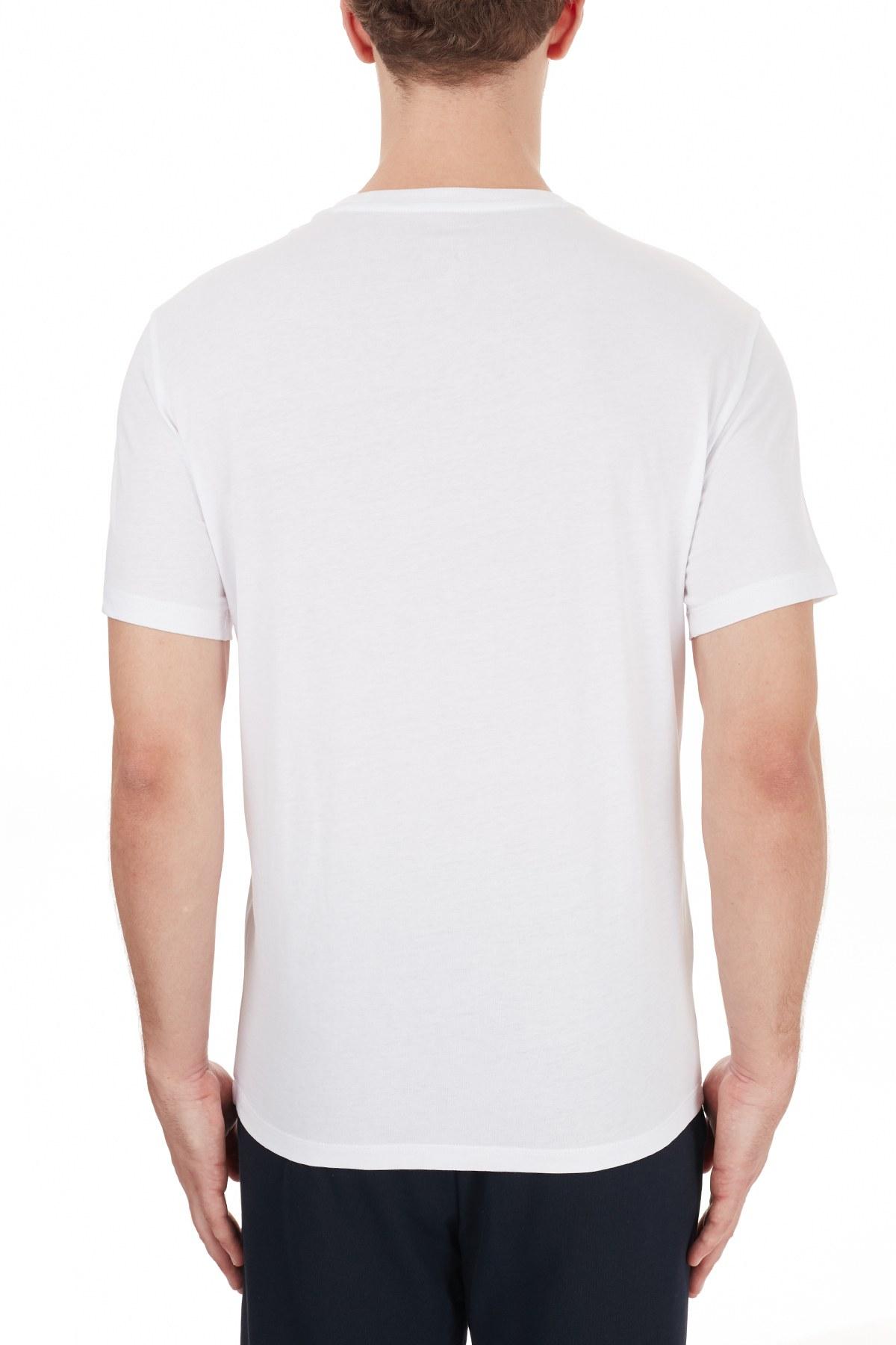 Armani Exchange % 100 Pamuklu Bisiklet Yaka Regular Fit Erkek T Shirt 6HZTFD ZJH4Z 1100 BEYAZ