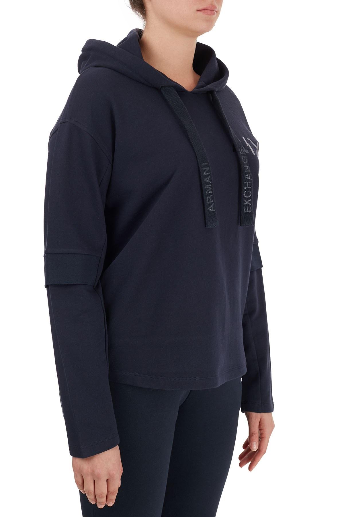 Armani Exchange % 100 Pamuklu Kapüşonlu Kadın Sweat 6HYM86 YJ7EZ 1593 LACİVERT