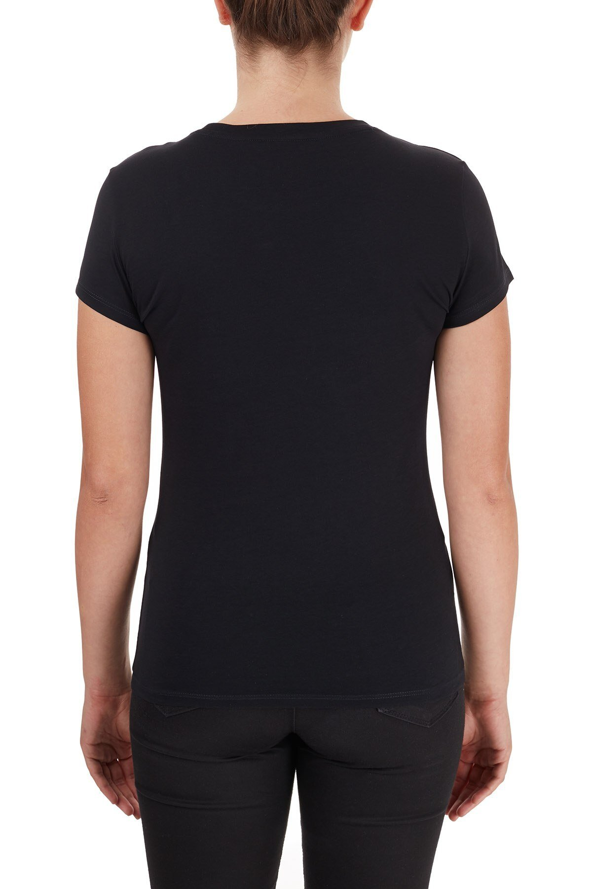 Armani Exchange % 100 Pamuklu Logo Baskılı Bisiklet Yaka Bayan T Shirt 6HYTFA YJ16Z 1200 SİYAH
