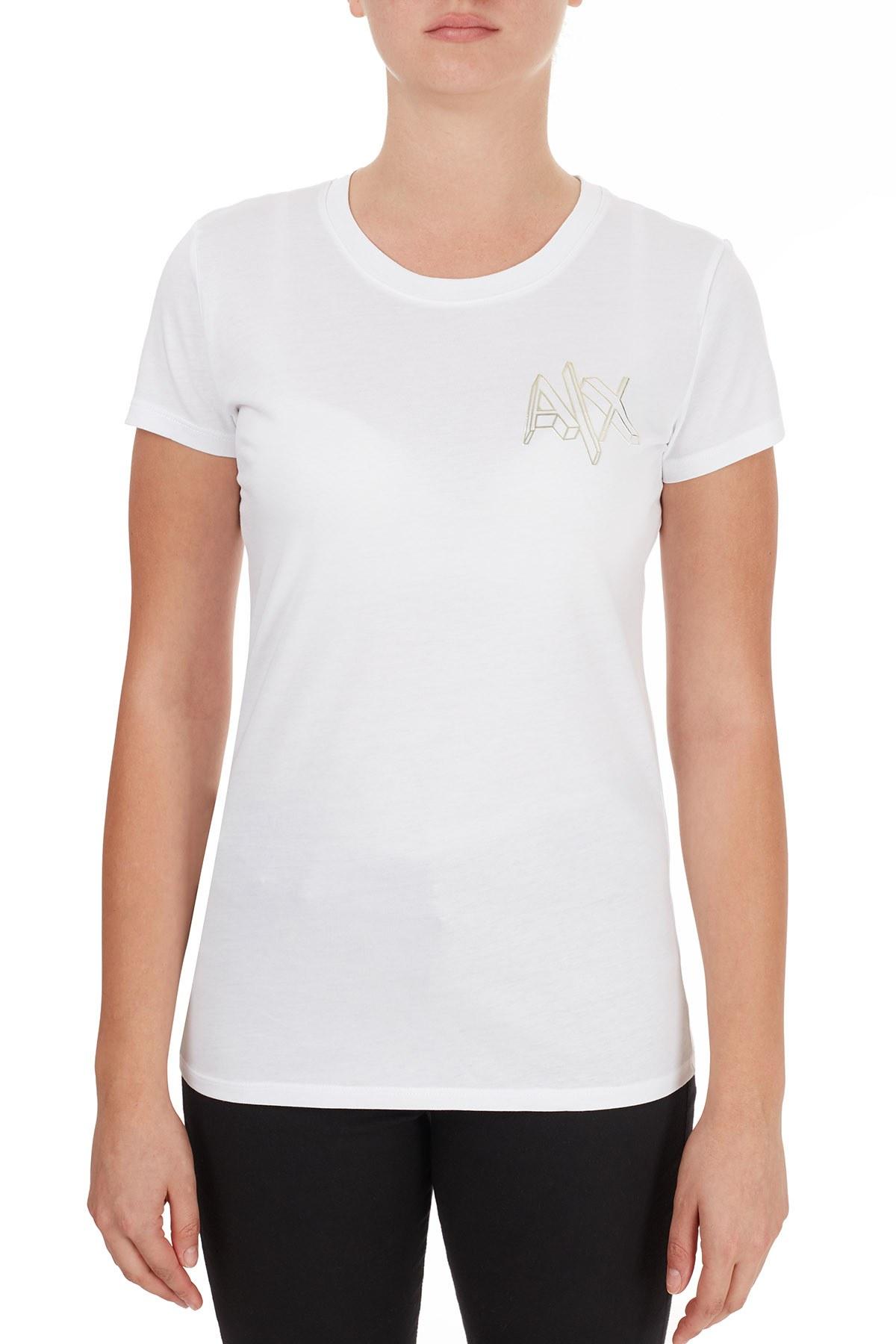 Armani Exchange % 100 Pamuklu Logo Baskılı Kadın T Shirt 6HYTFA YJ16Z 1000 BEYAZ