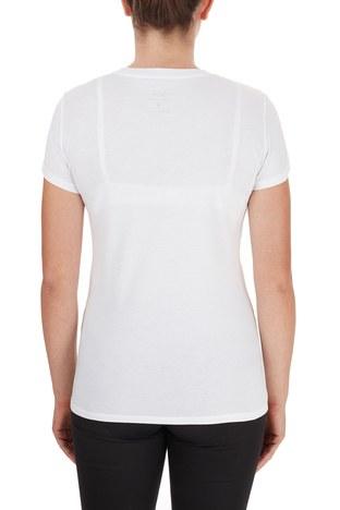 Armani Exchange - Armani Exchange % 100 Pamuklu Logo Baskılı Kadın T Shirt 6HYTFA YJ16Z 1000 BEYAZ (1)