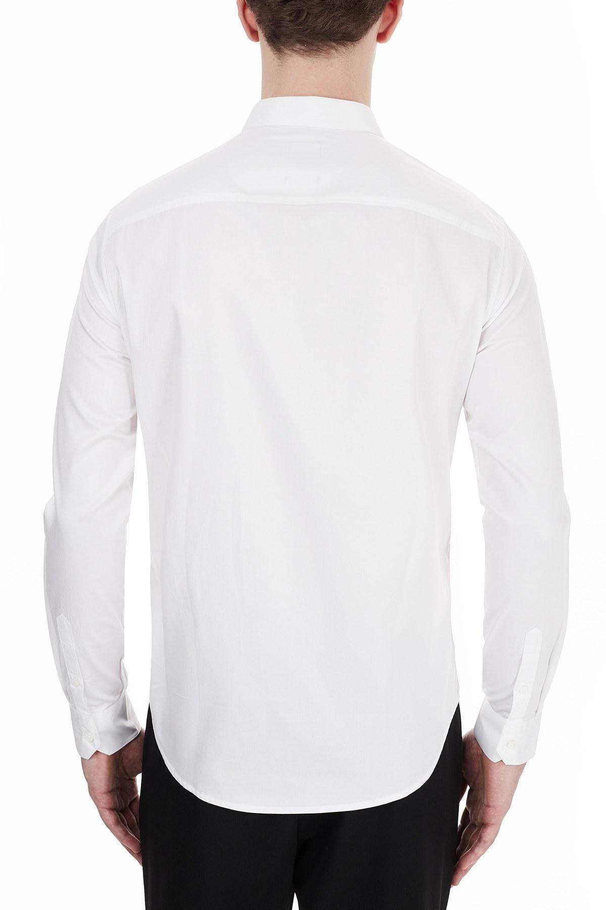 Armani Exchange % 100 Pamuklu Uzun Kollu Erkek Gömlek 6HZC43 ZNAUZ 1100 BEYAZ