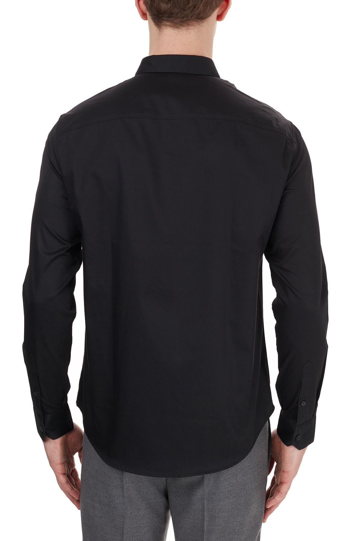 Armani Exchange % 100 Pamuklu Uzun Kollu Erkek Gömlek 6HZC43 ZNAUZ 1200 SİYAH