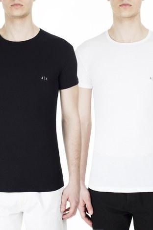 Armani Exchange - Armani Exchange 2 Pack T Shirt Erkek Boxer 956005 CC282 42520 SİYAH-BEYAZ