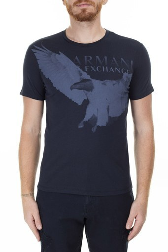 Armani Exchange Animal Baskılı Bisiklet Yaka Erkek T Shirt 3HZTAL ZJA5Z 1510 LACİVERT