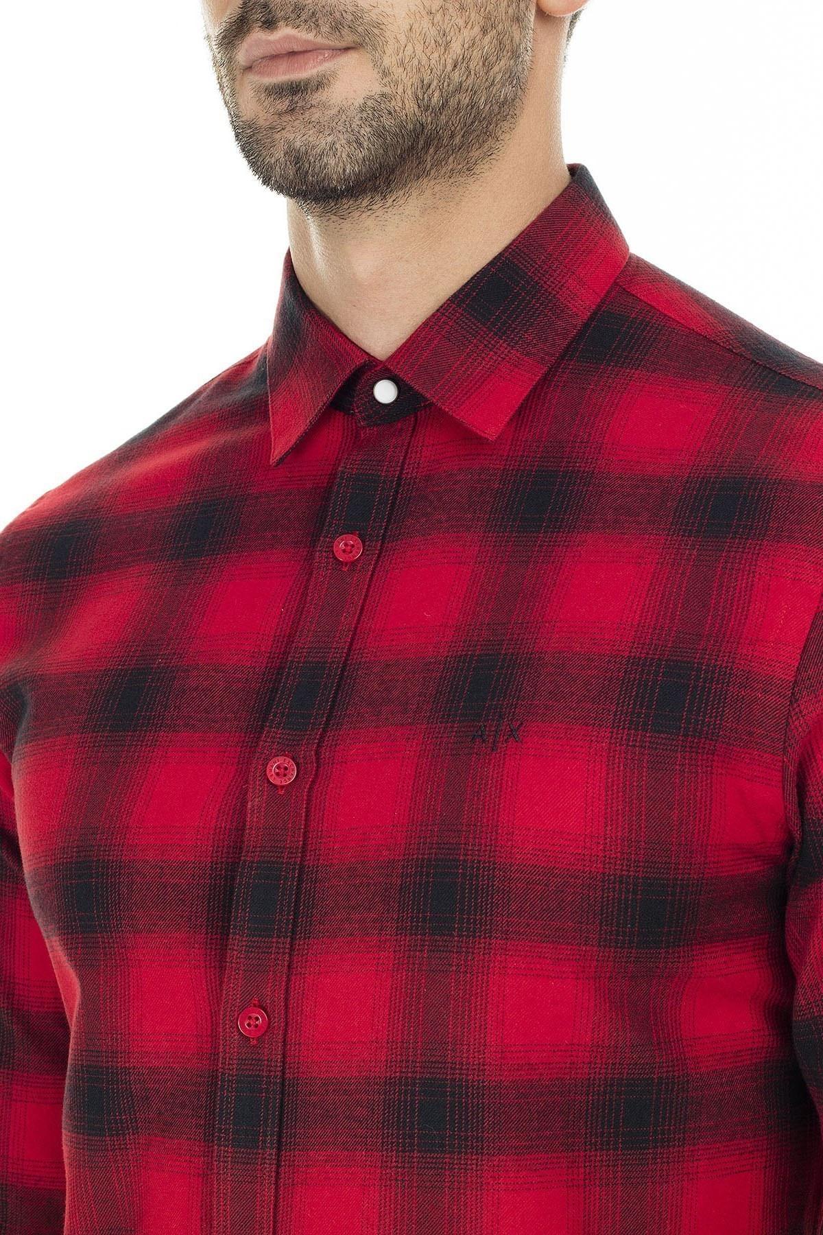 Armani Exchange Arkası Baskılı % 100 Pamuk Regular Fit Kareli Erkek Gömlek 6GZC27 ZNMEZ 5430 KIRMIZI